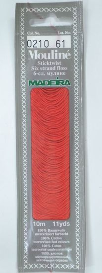 Col 0210 6 stranded Mouline embroidery thread