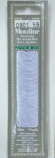 Col 0901 6 stranded Mouline embroidery thread