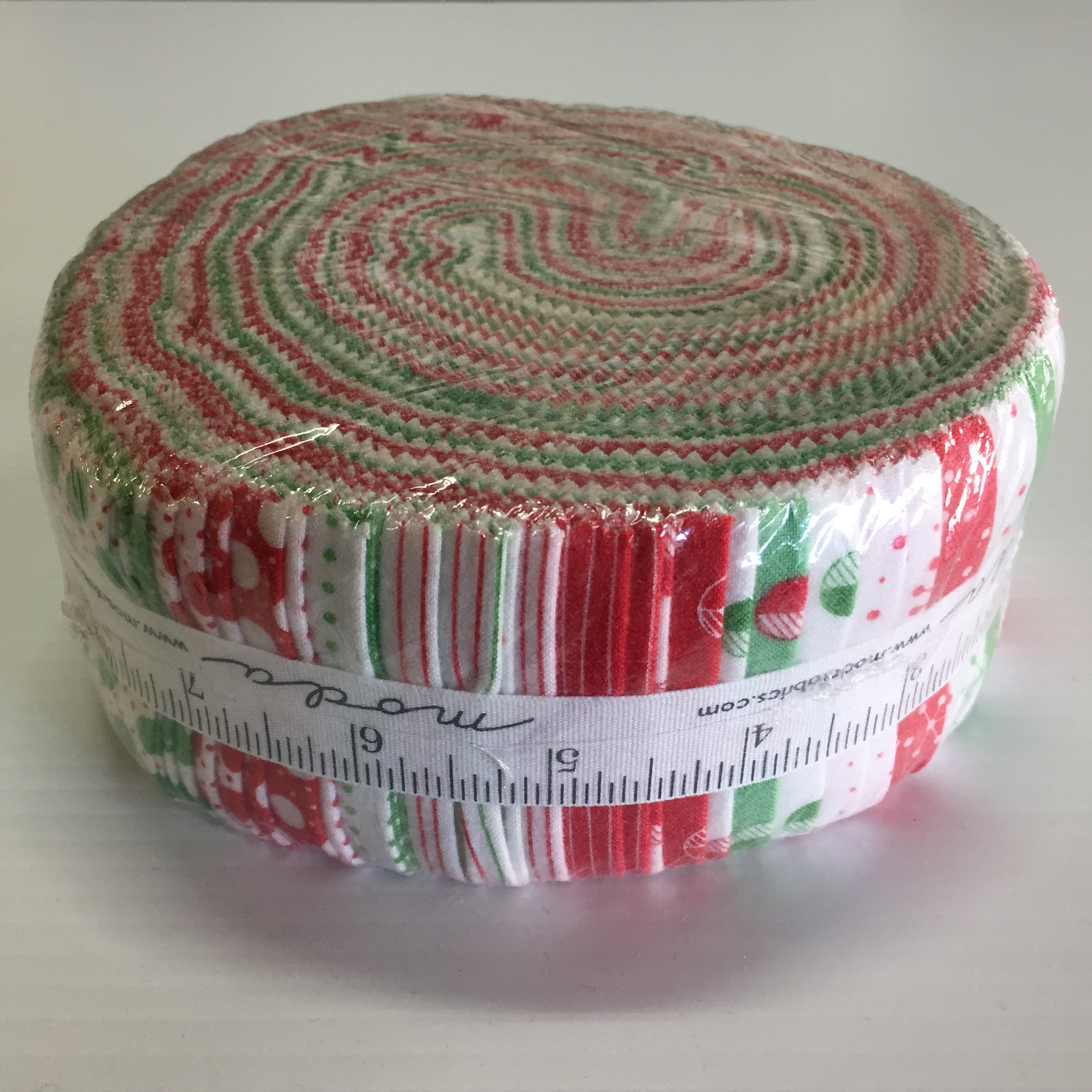 Red Dot Green Dash Jelly Roll (Brushed cotton)