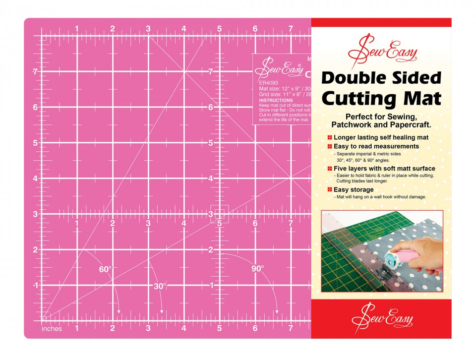 Double Sided Cutting Mat Small - Blue/Pink