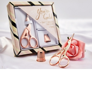 2 Piece Rose Gold Embroidery scissors set